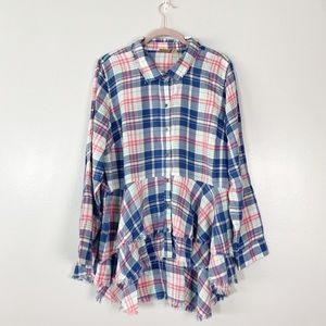 Plaid button front flannel tiered raw hem